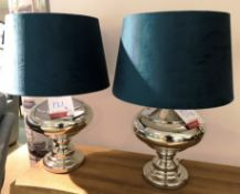 Ex Display Pair of Polished Chrome Urn Lamps - Teal Shade - RRP£240