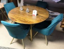 Ex Display Baker Bedford BX01 Boxer Collection 120cm Round Dining Table w/ 4 x Teal Amy Dining Chair
