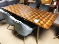 Ex Display Baker Bedford BX02 Boxer Collection 180cm Parquetry Top Dining Table w/ 4 x Grey Amy Dini