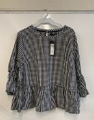 Marks and Spencer Limited Collection Black White Gingham Check Top | RRP 29.50