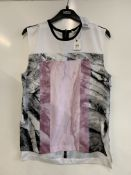 Helmut Lang Rind Pink Mason Print Crepe Marbled Top