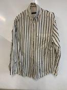 autograph women's white pinstripe shirt