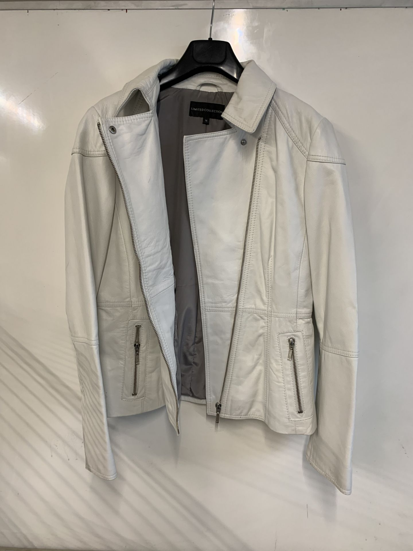 Lot 17 - M&S Limited Edition women's White Leather Jacket Size 6