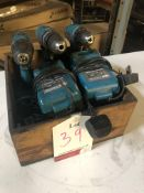 3 x Various Makita Cordless Drills w/ Battery charger as per pictures