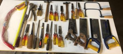 Quantity of Hand Tools as per pictures | Saws, Files, Chisels & Hammers