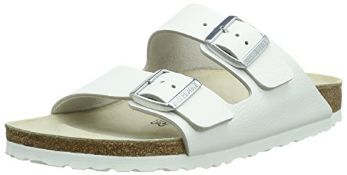 Birkenstock Unisex Adults' Arizona Slim Sandals, White (Weiss), 10.5 UK (Slim) (45 EU) 10.5 UK Unise