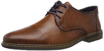 Rieker Men's 13414-26 Obermaterial Leder Derbys, Brown (Nut/Ozean 26), 7.5 UK 7.5 UK Men's 13414_26