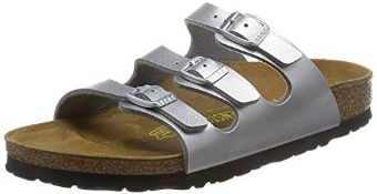 Birkenstock Florida Birko-Flor Narrow Fit Womens Sandals, Silver (Silver), 3 UK (36 EU) 3 UK Women's