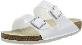 Birkenstock Arizona, Unisex - Adults Sandals, White (White), 10.5 UK Narrow (45 EU) 9.5 UK Narrow Un