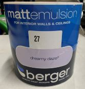 10 x 2.5 litre tubs of Berger mattemulsion various coloured paint's