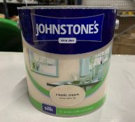 9 x Johnstone's 2.5 Litre tubs of various coloured paints