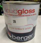 4 x 2.5 litre tins of Berger liquid gloss various coloured paints