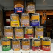 14 x 250ML tins of ronseal wood stain/varnish