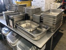 Quantity of Stainless Steel Pans, Strainers & Lids - As Pictured
