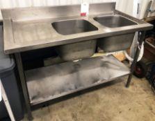 Stainless Steel Double Bowl Sink Unit w/ Undershelf & Backsplash | 135cm x 65cm x 90cm
