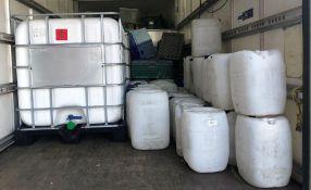 2 x 1,000L IBC & Quantity of Plastic Jerrys Cans