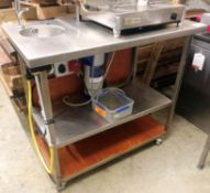 Mobile Stainless Steel Preparation Table w/ Hand Sink & Brita Purity Water System