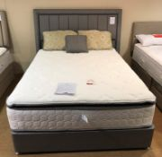 Ex Display Sealy Royal Mohair 2300 King Size Mattress w/ 2 Drawer Bed Frame & Headboard in Stardust