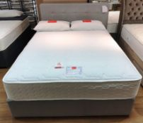 Ex Display Slumberland Synergy Latex 1600 King Mattress w/ 2 Drawer Bed Frame & Buttons Headboard in