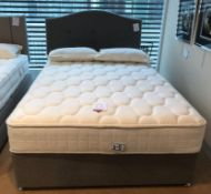 Ex Display Sealy Genoa Latex 1400 King Size Mattress w/ 2 Drawer Bed Frame & Headboard in Pebble | R