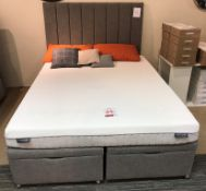 Ex Display Dunlopillo King Size Firm Rest Mattress w/ Manual Ottoman Frame & Extra Height Headboard