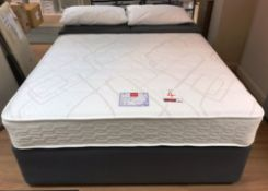 Ex Display Slumberland Radiance Comfort 1000 King Mattress w/ 2 Drawer Bed Frame & Cirrus Headboard