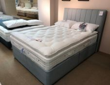 Ex Display Hypnos Melody PillowTop King Size Mattress w/ Bed Frame & Slim/Wide Headboard in Linoso S