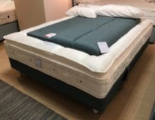 Ex Display Hypnos Cadenza King Size Mattress w/ Shallow Base Divan Set & Headboard in Tweed Dark Gre
