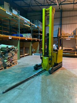 Flexilift Flexi Narrow Aisle Forklift Truck & Jungenheinrich ETV320 Side Loader w/ Carpet Boom Attachment