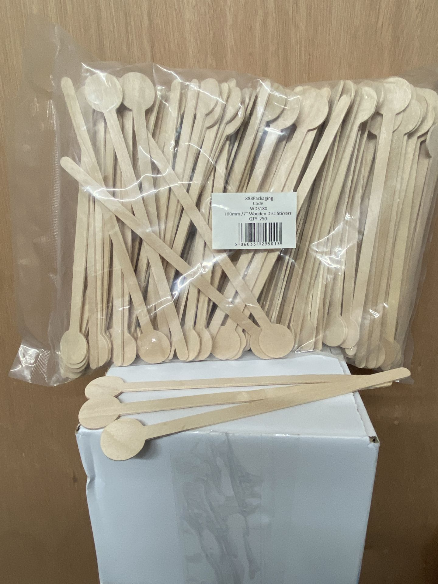 Lot 330 - 5 x Boxes of 2,000 Wooden Disc Stirrers by 888 Gastro Disposables