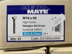 3 x Boxes of Metal Mate M16 x 90 Hexagon Set Screws (box of 25)