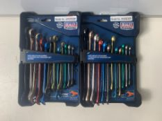 2 x Sealey Premier 12pc Multi Coloured Combination Spanner Set 8-19mm Open End Ring