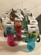 18 x Coloured Baby Bottles With Grips