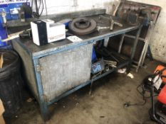 Metal Workbench w/ Cupboard, Undershelf & Mechanical Vice