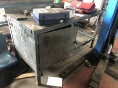 Metal Workbench w/ Cupboard, Undershelf & Mechanical Vice