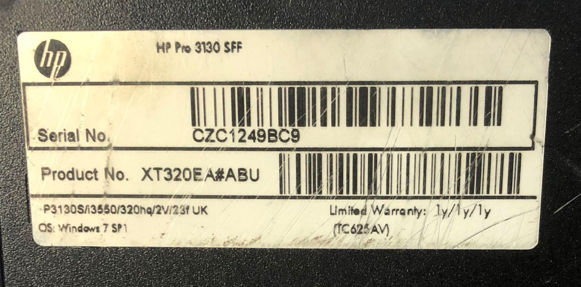 Lot 2 - HP Pro 3130 SFF Desktop Computer