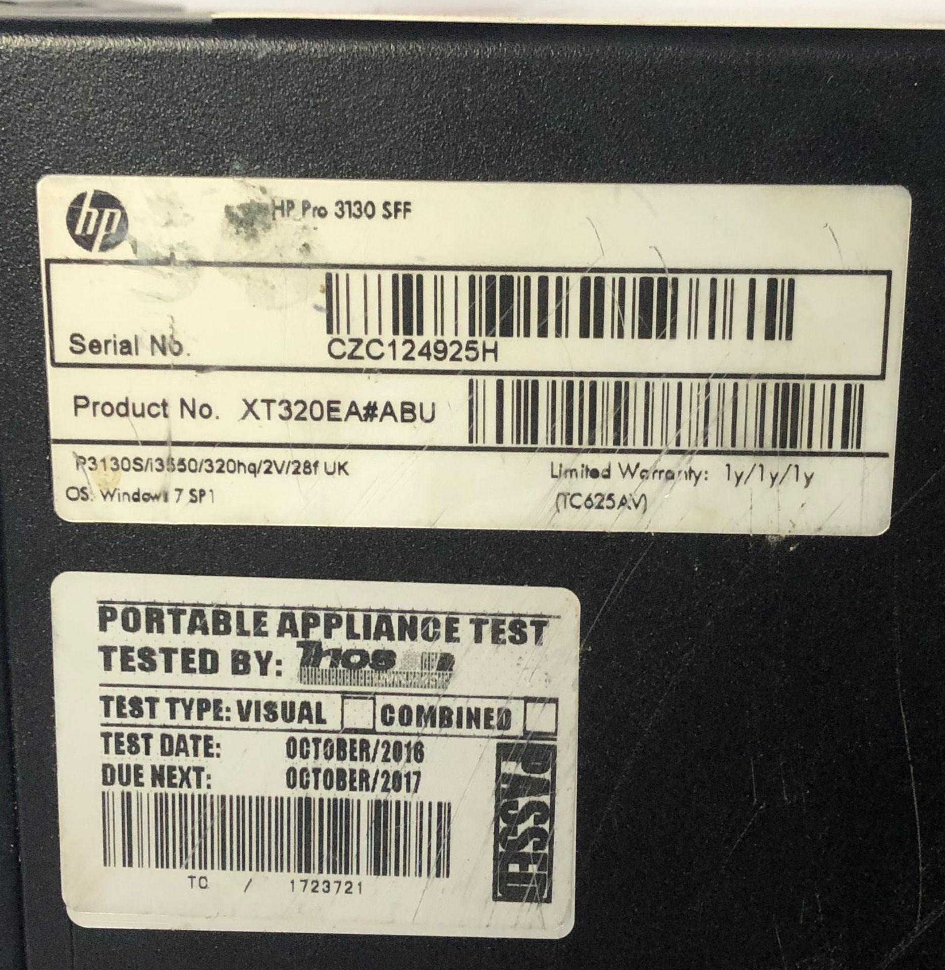 Lot 11 - HP Pro 3130 SFF Desktop Computer