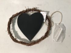6 x Twig Wreath w/Heart Chalk Board and Chalk