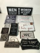 Approx 50 x Various Hanging Signs | See photographs for designs