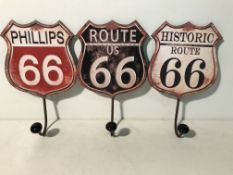 4 x Route 66 Coat Hook Hangers
