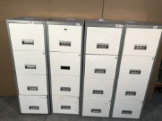4 x Steel 4 Drawer Filing Cabinets