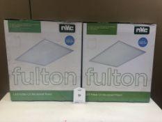 2 x NVC Lighting Fulton LED EdgeLit Recessed Panels | 600mm x 600mm