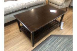 Ex Display Dark Wood Coffee Table w/ Magazine Undershelf