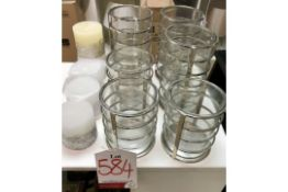 6 x Ex Display Chrome Glass Candle Holders w/ Libra Candles