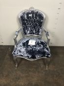 Fabric Baroque Style Chair w/ Arm Rests