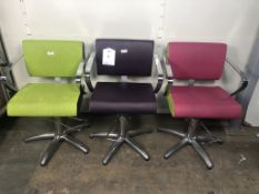 3 x Height Adjustable Faux Leather Salon Chairs