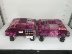 2 x Low Height Fabric Chequered Footstools in Pink/Purple