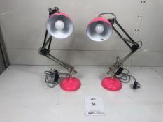 2 x Adjustable Desk Lamps in Pink
