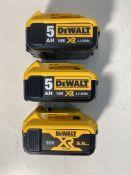 3 x DEWALT DCB184 18V 5AH LI-ION XR SLIDE BATTERIES