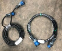 2 x Single Phase 3 Pin Extension Cables w/ Mennekes PowerTop Xtra Plug & Connector